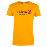 Ladies Gold T Shirt-University Logo Horizontal