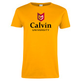 Ladies Gold T Shirt-University Logo Vertical