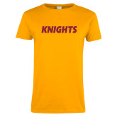 Ladies Gold T Shirt-Knights Wordmark