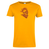 Ladies Gold T Shirt-Knight Head Distressed
