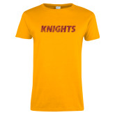 Ladies Gold T Shirt-Knights Wordmark Distressed