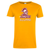 Ladies Gold T Shirt-Alumni Knight Calvin