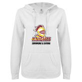 ENZA Ladies White V Notch Raw Edge Fleece Hoodie-Knights Swimming and Diving