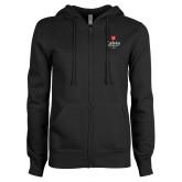 ENZA Ladies Black Fleece Full Zip Hoodie-University Logo 1876 Vertical