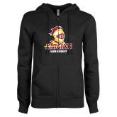 ENZA Ladies Black Fleece Full Zip Hoodie-Knights with University