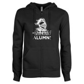 ENZA Ladies Black Fleece Full Zip Hoodie-Alumni Knight Calvin