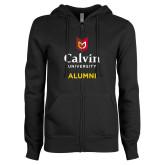 ENZA Ladies Black Fleece Full Zip Hoodie-Alumni University Logo Vertical