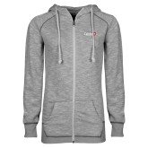 ENZA Ladies Grey/Black Marled Full Zip Hoodie-University Logo 1876 Horizontal