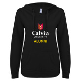 ENZA Ladies Black V Notch Raw Edge Fleece Hoodie-Alumni University Logo Vertical