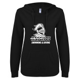 ENZA Ladies Black V Notch Raw Edge Fleece Hoodie-Knights Swimming and Diving
