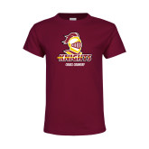 Youth Maroon T Shirt-Cross Country Stacked