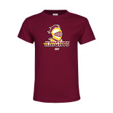 Youth Maroon T Shirt-Golf Stacked