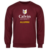 Maroon Fleece Crew-Alumni University Logo Vertical