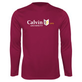 Performance Maroon Longsleeve Shirt-University Logo 1876 Horizontal