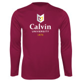 Performance Maroon Longsleeve Shirt-University Logo 1876 Vertical
