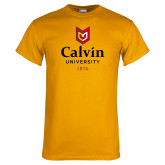 Gold T Shirt-University Logo 1876 Vertical