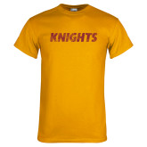 Gold T Shirt-Knights Wordmark Distressed