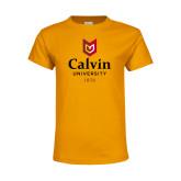 Youth Gold T Shirt-University Logo 1876 Vertical
