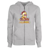 ENZA Ladies Grey Fleece Full Zip Hoodie-Alumni Knight Calvin