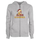 ENZA Ladies Grey Fleece Full Zip Hoodie-Grandma Knight Calvin