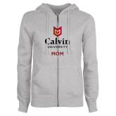 ENZA Ladies Grey Fleece Full Zip Hoodie-Mom University Logo Vertical