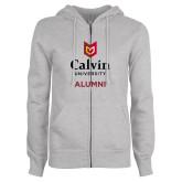 ENZA Ladies Grey Fleece Full Zip Hoodie-Alumni University Logo Vertical