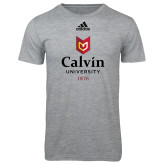 Adidas Sport Grey Logo T Shirt-University Logo 1876 Vertical