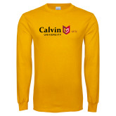 Gold Long Sleeve T Shirt-University Logo 1876 Horizontal