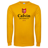 Gold Long Sleeve T Shirt-University Logo 1876 Vertical