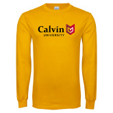 Gold Long Sleeve T Shirt-University Logo Horizontal