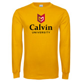 Gold Long Sleeve T Shirt-University Logo Vertical