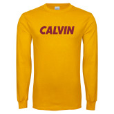 Gold Long Sleeve T Shirt-Calvin Wordmark