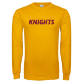 Gold Long Sleeve T Shirt-Knights Wordmark