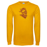 Gold Long Sleeve T Shirt-Knight Head Distressed