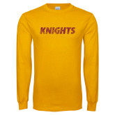 Gold Long Sleeve T Shirt-Knights Wordmark Distressed