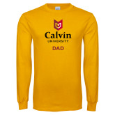 Gold Long Sleeve T Shirt-Dad University Logo Vertical
