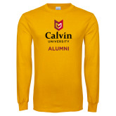 Gold Long Sleeve T Shirt-Alumni University Logo Vertical