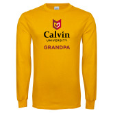 Gold Long Sleeve T Shirt-Grandpa University Logo Vertical