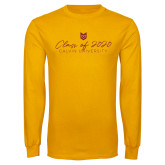 Gold Long Sleeve T Shirt-Class of 2020 Script
