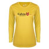 Ladies Syntrel Performance Gold Longsleeve Shirt-University Logo 1876 Horizontal