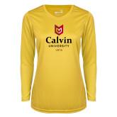 Ladies Syntrel Performance Gold Longsleeve Shirt-University Logo 1876 Vertical