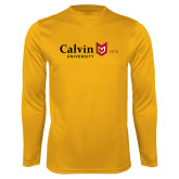 Performance Gold Longsleeve Shirt-University Logo 1876 Horizontal