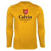 Performance Gold Longsleeve Shirt-University Logo 1876 Vertical