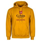 Gold Fleece Hoodie-Grandpa University Logo Vertical