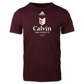 Adidas Maroon Logo T Shirt-University Logo 1876 Vertical