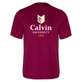Performance Maroon Tee-University Logo 1876 Vertical