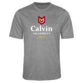 Performance Grey Heather Contender Tee-University Logo 1876 Vertical