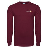Maroon Long Sleeve T Shirt-University Logo 1876 Horizontal