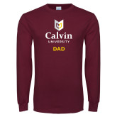 Maroon Long Sleeve T Shirt-Dad University Logo Vertical