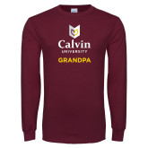 Maroon Long Sleeve T Shirt-Grandpa University Logo Vertical